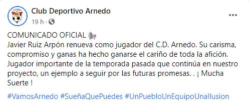 Javier Ruiz Arpón renueva como jugador del CD Arnedo